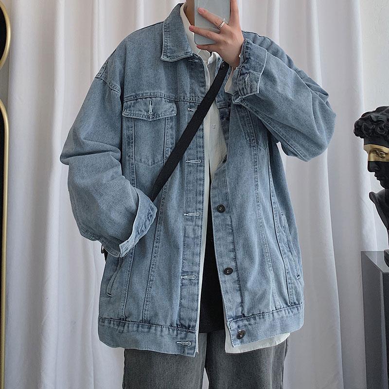 Мужская свободная джинсовая куртка Куртка свободная плюс размер повседневная джинсовая мужская