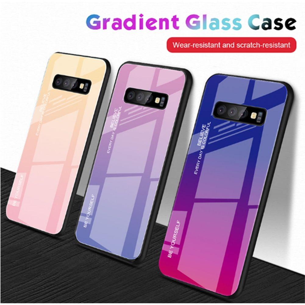 Gradiente vidro temperado capa para Iphone xs Caixa colorida PC Moda TPU Armadura Capa para Samsung S20 S20ultra S10plus A60 Note9 HuaWei Xiaomi