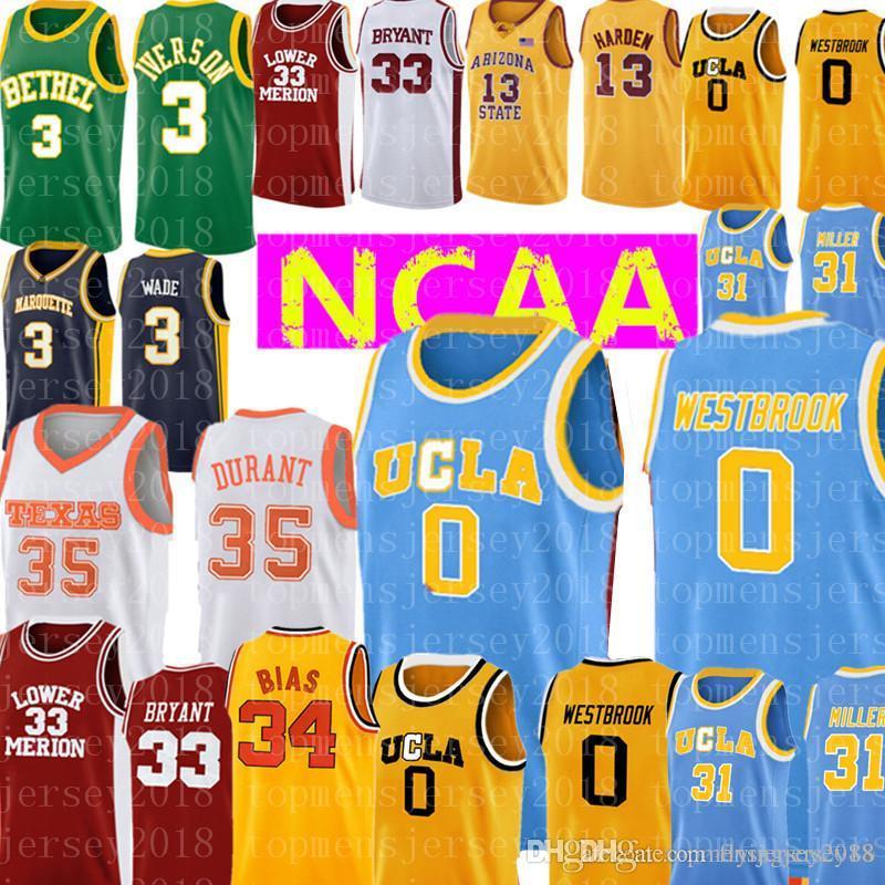 UCLA Bruins 0 Russell Westbrook Reggie Miller 31 Jersey para hombre al por mayor Azul Amarillo Blanco bordado baloncesto Jersey barato