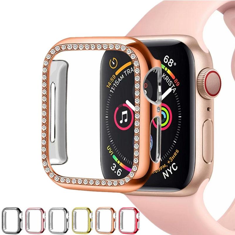 1pcs Diamond Watch Cover Flex Bling Crystal PC Cover For Apple Watch iWatch Series 4 3 21 Case 42mmm 38mm Band smart watch protective case