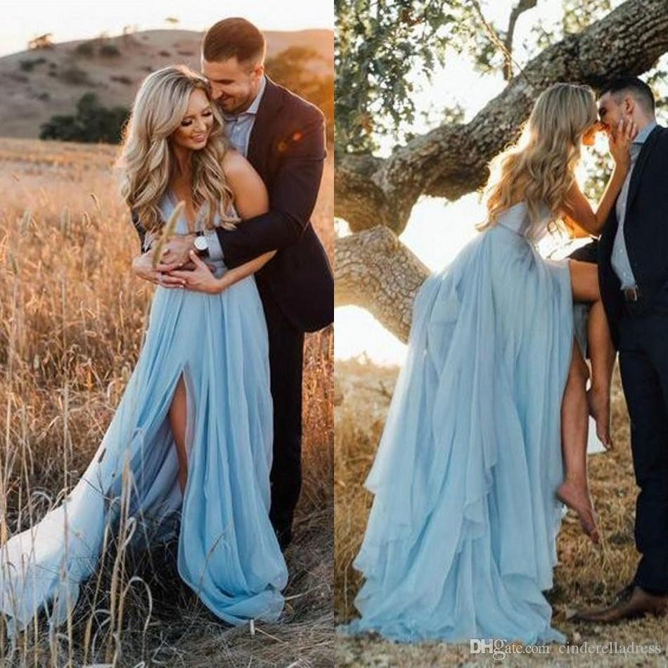2020 Sexy Engagement Prom Dresses Spaghetti Strap Backless High Slit A Line Court Train Sky Blue Tulle Boho Evening Dress