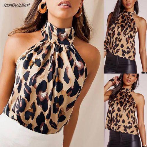 Femmes Polyester Mode Femmes d'été sans manches T-shirt Gilet shirt Leopard Tank Casual Tops Chemises Taille Plus