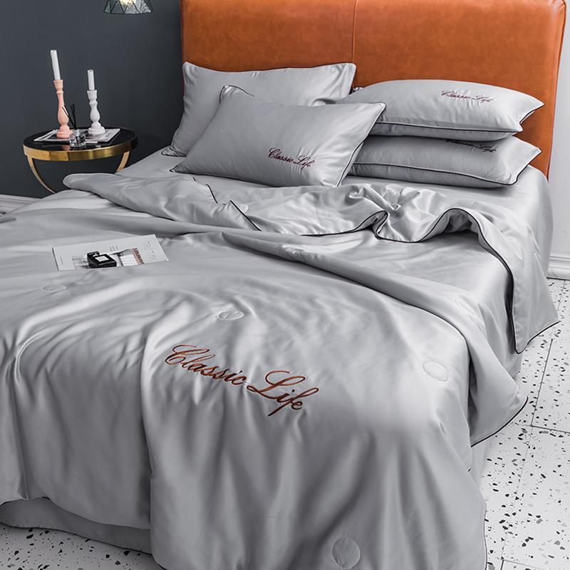 Stile elegante di fascia alta di seta grigia Estate sottile Quilt Copriletto Coperta Coperta Fogli federa Quilting casa #s