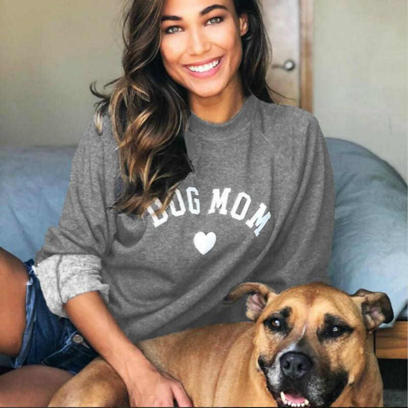 Crew Neck Dog Mom and Cat Mom Kawaii Letter Prints Long Sleeve Hoodies Chic Women Sweatshirt Dog Person Fashion Outfits Pullover