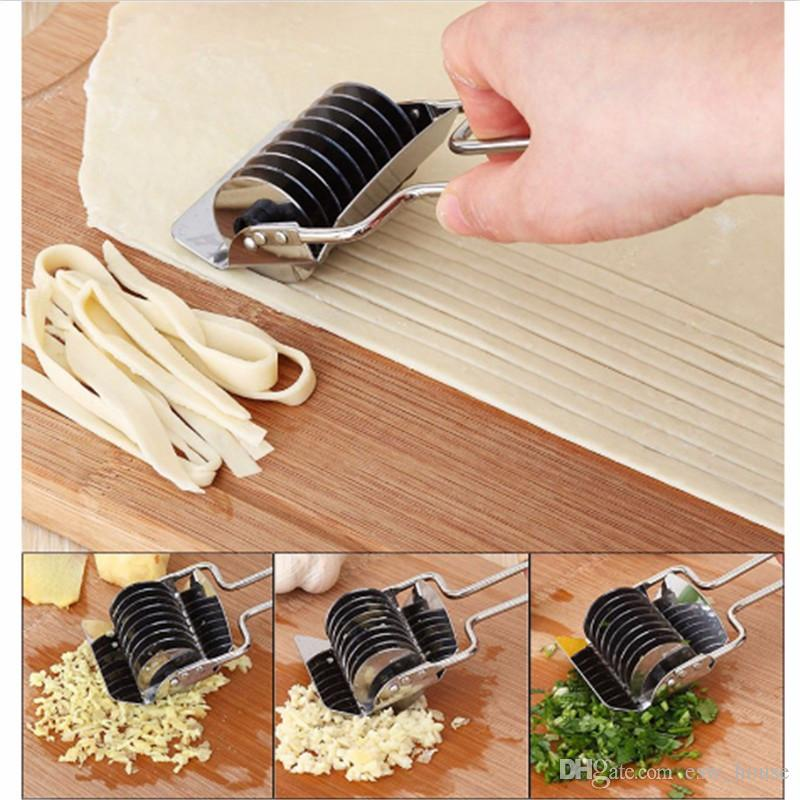 Stainless Steel Noodle Lattice Roller Docker Dough Knife Cutter Pasta Spaghetti Maker Manual Noodle Press Kitchen Tools