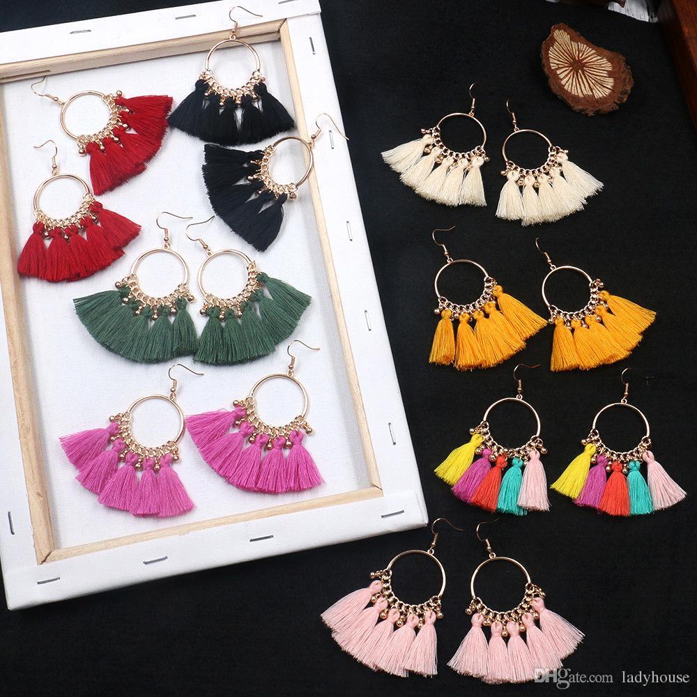 Costume fashion boucles d/'oreilles clips grosse chandelier tassel coloré rétro vintage E1