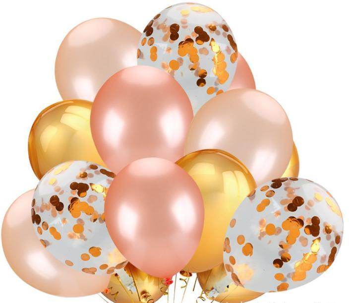 Amazon Hot Sale or rose Boules sequin Ballons Confetti anniversaire Décor de fête de 18 pouces de papier Ballons Confetti
