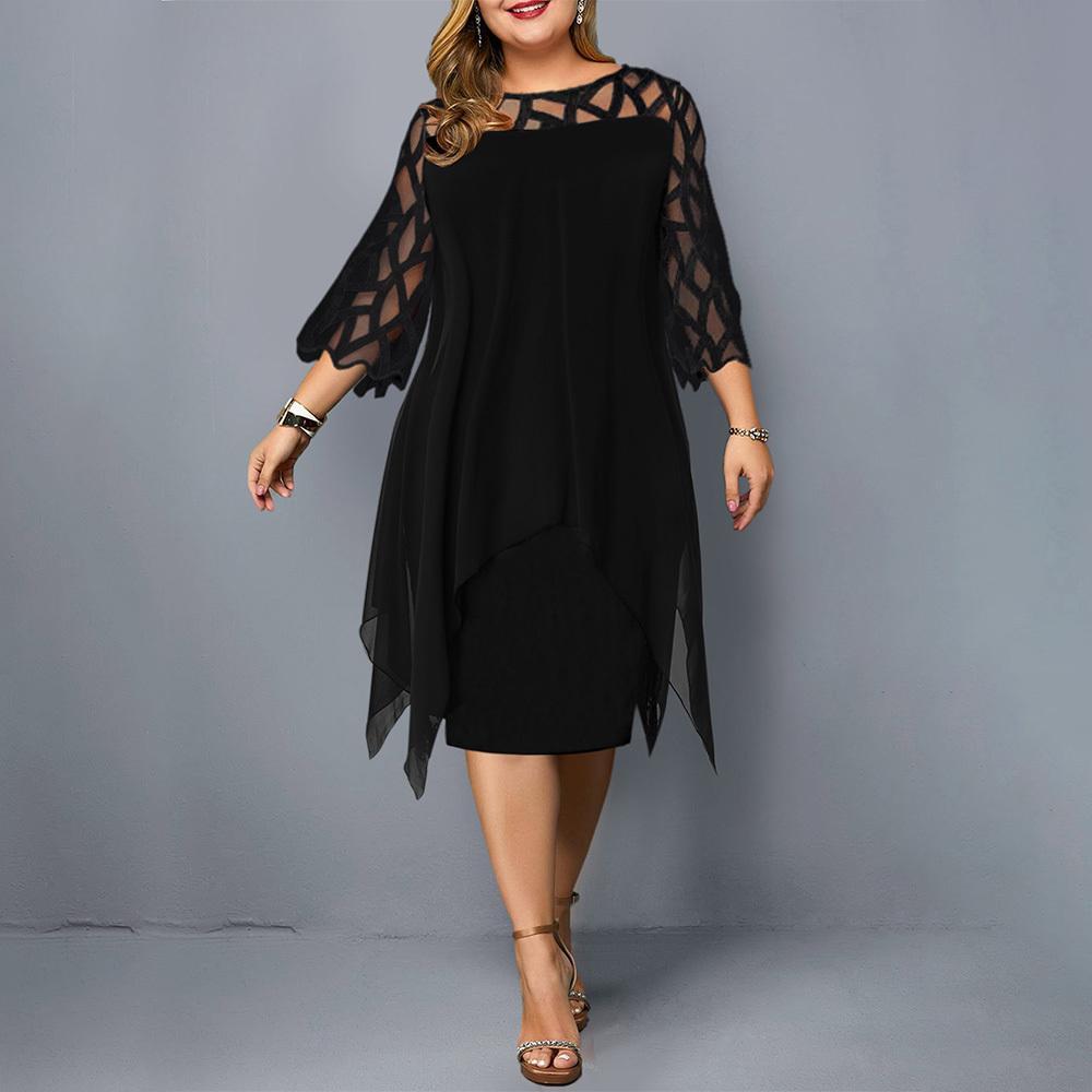 Dress Plus Size Donna Solid Tre quarti elegante signore dell'ufficio di lunghezza del ginocchio grande vestito O del collo asimmetrico Abiti Mesh D40