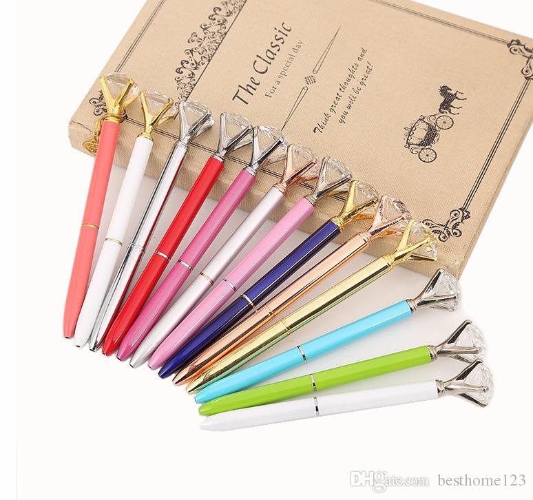 2019 새로운 디자이너 13 색 금속 볼펜으로 큰 다이아몬드 보석 마법 럭셔리 펜 패션 창조적 인 문구 학교 사무용품