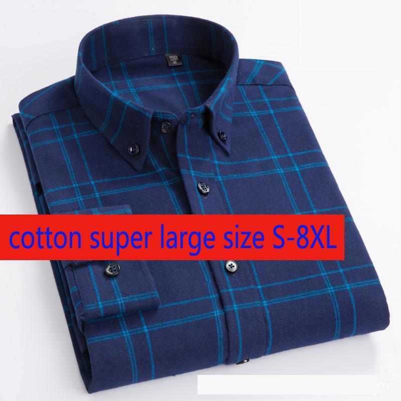 Новое прибытие моды Супер Большие Мужчины Чистый хлопок плед с длинным рукавом Большие Повседневный Повседневный однобортный Плюс Размер S-7XL 8XL