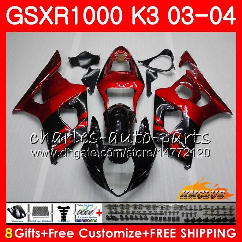 鈴木GSXR-1000 K3 GSXR1000 03 04 Bodywork 15HC.0フレームGSX-R1000 GSX R1000 03 04 GSXR 1000 2003 2004フェアリングキットワインレッドブラック
