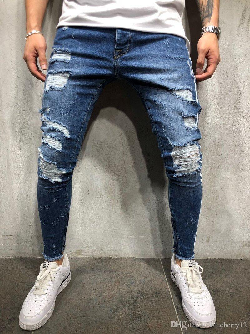 Compre Pantalones Vaqueros De Lapiz Rotos Para Hombre High Street Kanye Robin Pantalones Vaqueros Azules Pantalones De Mezclilla De Rayas Finas Con Rayas Blancas A 34 72 Del Brittany72 Dhgate Com