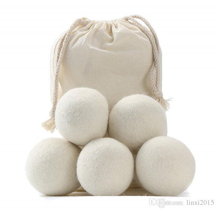 2019 Schurwolle Dryer Balls Premium-Wiederverwendbare Natur Weichspüler 2.75inch 7cm Static Reduziert Hilft trockene Kleidung in Wäsche Quicker SN2646
