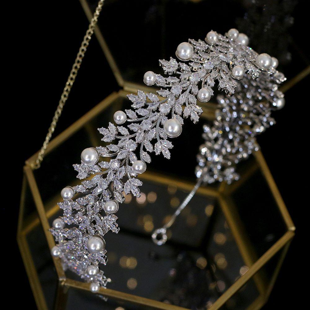 Vintage Haarschmuck Tiara elegante Perlenband Hochzeit Zubehör Braut Haarschmuck Kopfschmuck Kopfschmuck