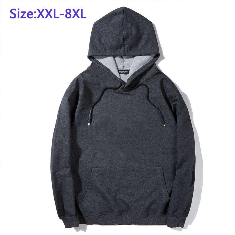 7XL 8XL Giyim İçin Erkekler Hoodies Casual Yüksek Kalite Coat Gevşek Tek Ceket Rahat Büyük Adam Big Top Boyut XXL-8XL