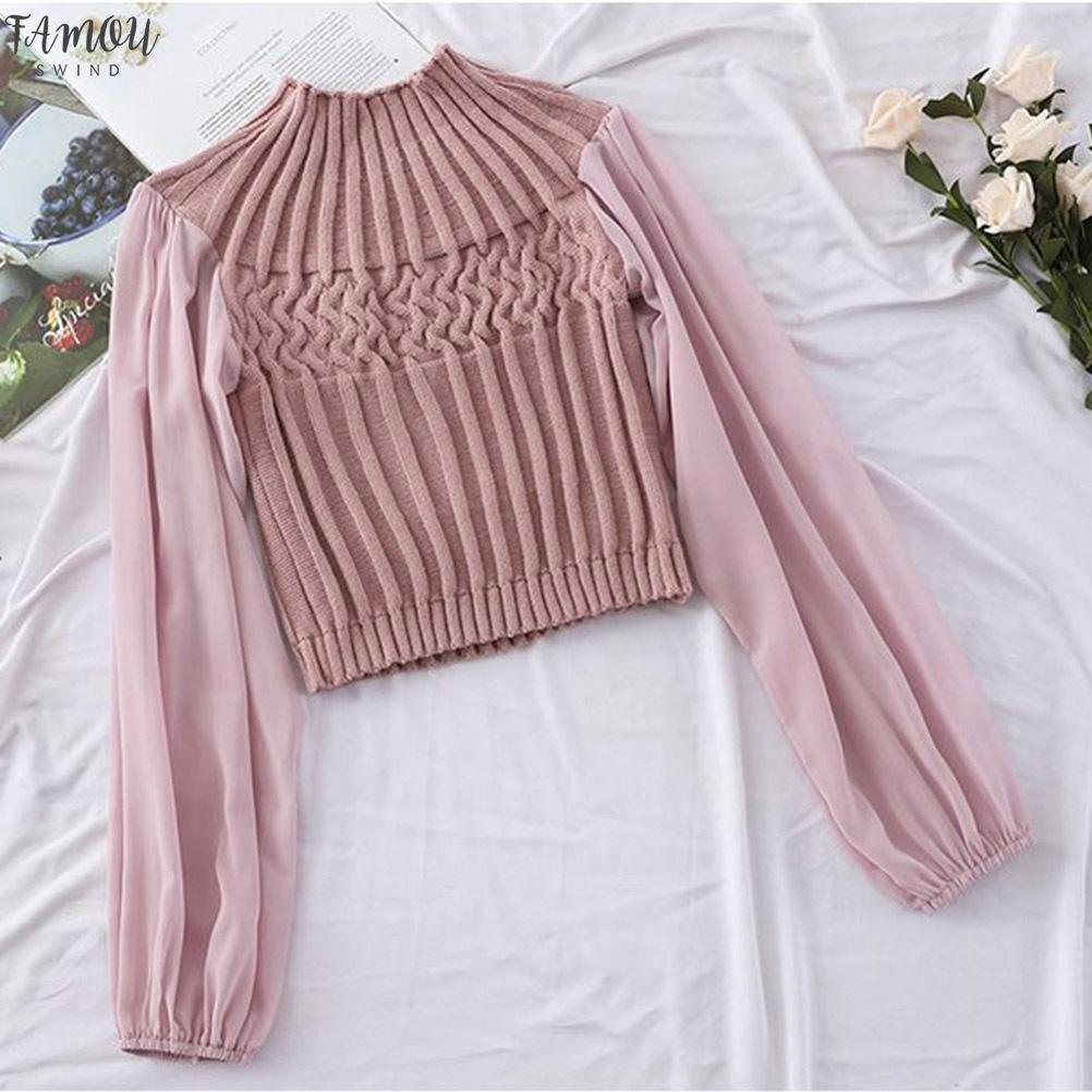Mode de mousseline de soie à manches longues Femmes Applique Blouses Feminina Casual Casual Patchwork Blouse Crop Blusas Mujer de Moda