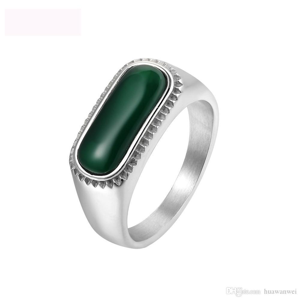 Venta superior calcedonia joyería anillos vintage anillo de acero de titanio verde gema anillo de joya para hombres y mujeres envío gratis
