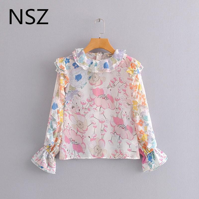 NSZ женщины цветочная напечатана блузкой ламинированных оборки вспыхивают рукав моды шифон рубашки женского топ
