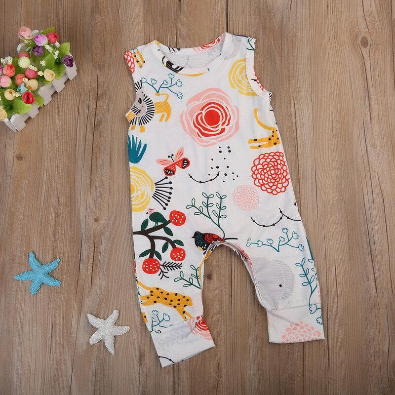 Garçon Fille manches barboteuses Jumpsuit Animal Flower Print Romper Sunsuit Tenues d'été pour enfants Vêtements de bébé mignon enfants