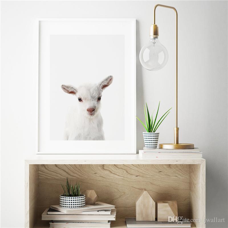 Bebek Koyun Minimalist Hayvan Sanat Tuval Boyama HD Duvar Resim Posteri Ve Baskı Dekoratif Ev Dekor