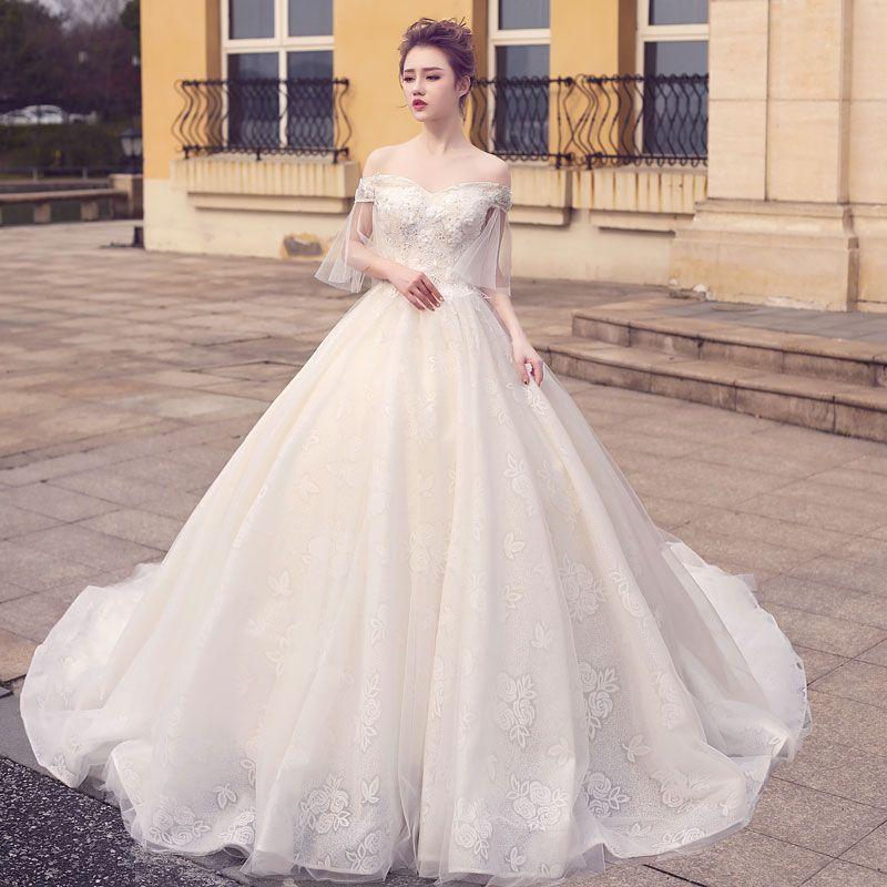 2019 Gelinlik Romantik Boncuk A-Line Gelin Elbise Robe De Mariee Vestido De Noiva Princesa Gelinlikler