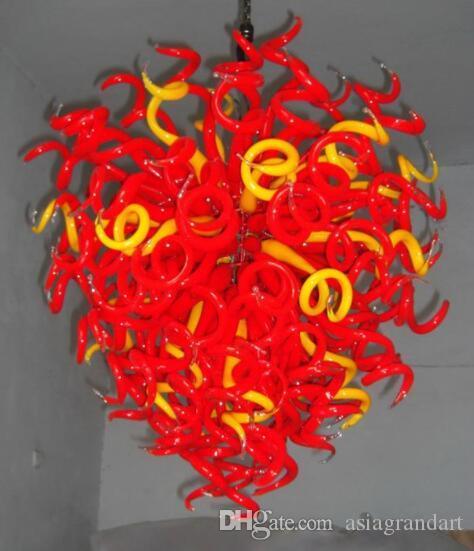 100 % 입 CE UL 붕규산 무라노 유리 데일 치 훌리 (Dale Chihuly) 예술 솔리드 레드 옐로우 펜던트 현대 룸 샹들리에 식사 풍선