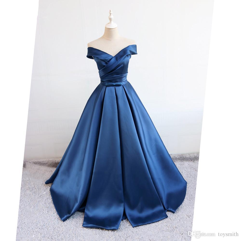Элегантный темно-синий женский женский вечерние платья длинные от плеча формальные макси женовые женские женские вечеринки винтажные простое платье Vestidos Novia