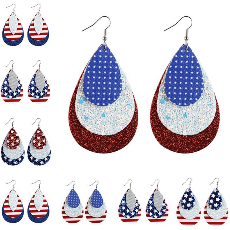 8 American Color pendiente de la bandera de la lágrima de impresión manera cuelga cuero de la PU para el Día de la Independencia Pendiente Pendiente 100pair XL2211