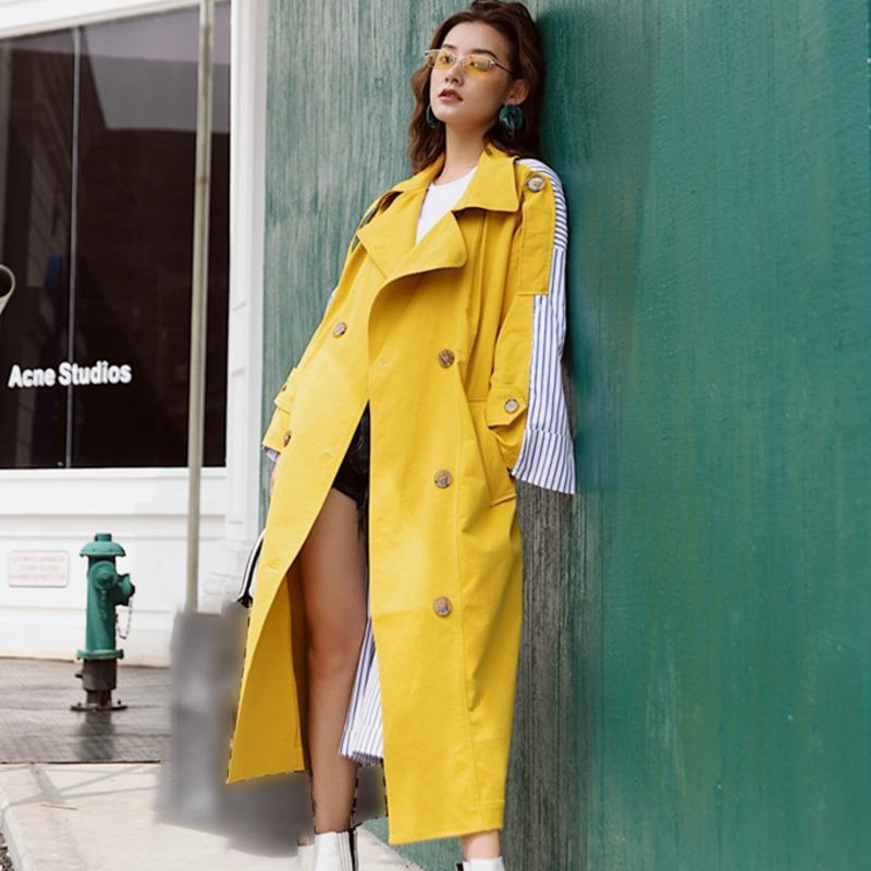 LANMREM 2019 Streifen-Patchworkkontrastfarbe dünne Windjacke mit Gürtel Persönlichkeit Jacke Lang-Mantel für Frauen neue Art und Weise BD226 LY191210