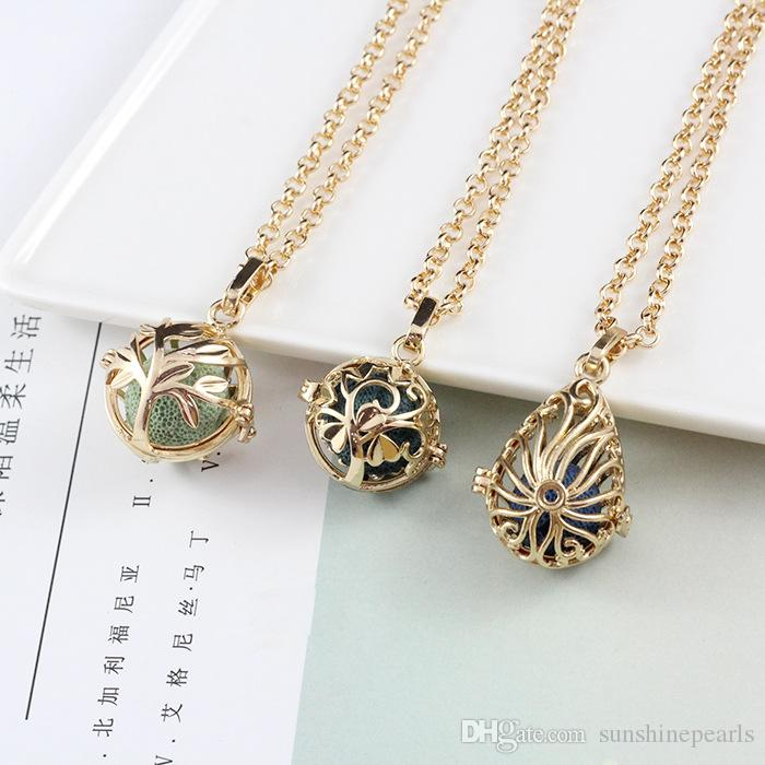 CR jewelry Aromatherapy Essential Oil Diffuser Necklaces Women Locket Pendants Necklace With Lava Rock Perfume Diffuser Necklace