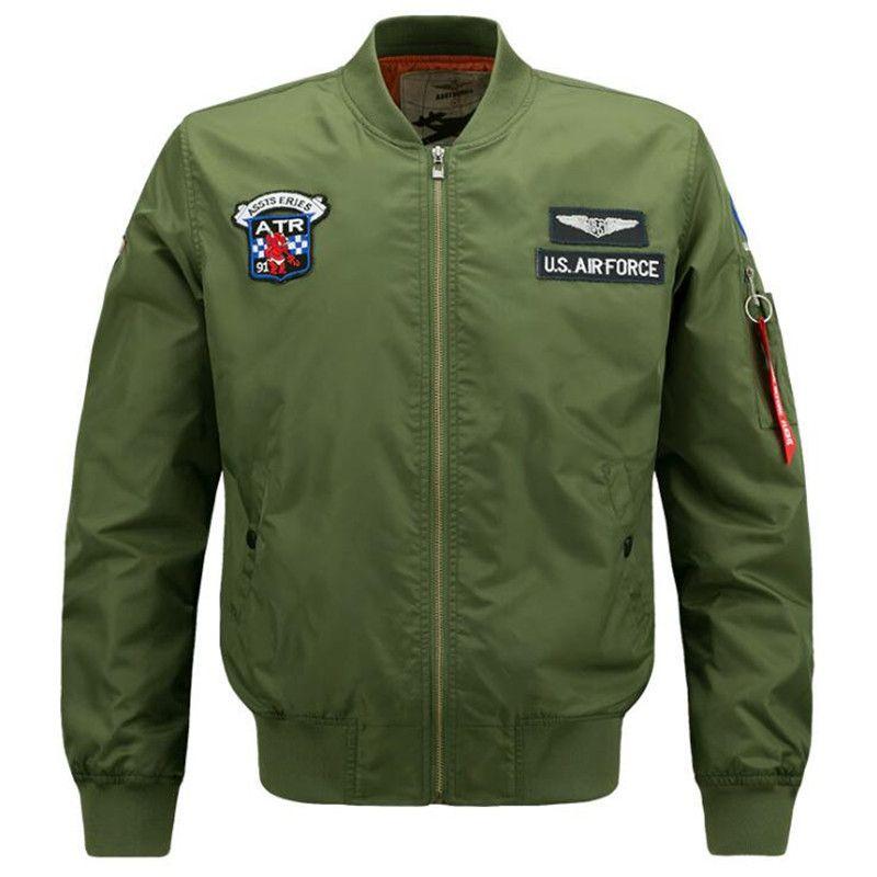 Automne Hiver Hommes Veste Number One Bomber Jacket Loisirs Manteau Col Montant Veste Coupe-Vent Plus La Taille M-6XL
