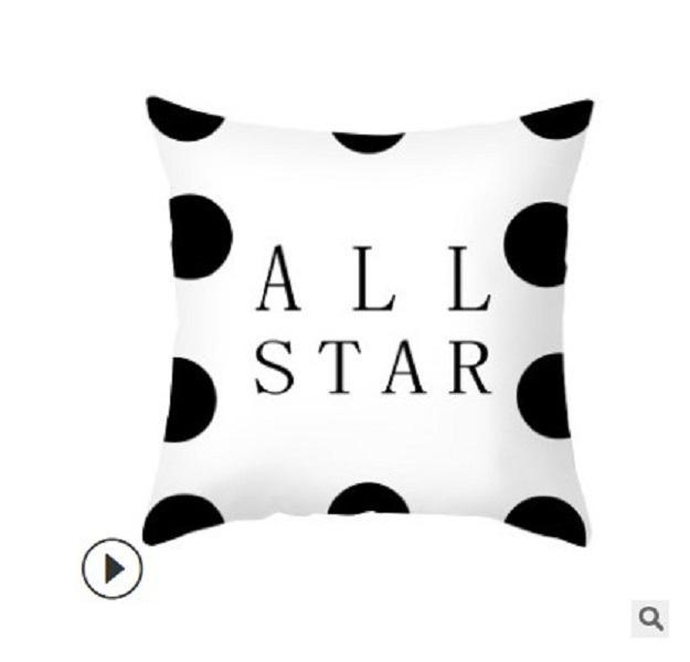 2020 fronha Nordic lance fronha cobertura sofá capa de almofada de couro carta preto e branco pêssego almofada personalizado casa pop 004