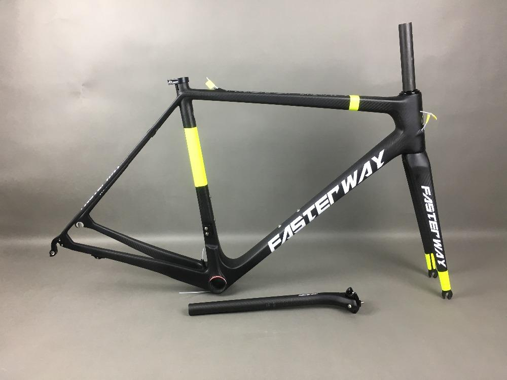 3K weaves FASTERWAY PRO neon yellow with white decal carbon road bike frameset:carbon Frame+Seatpost+Fork+Clamp+Headset