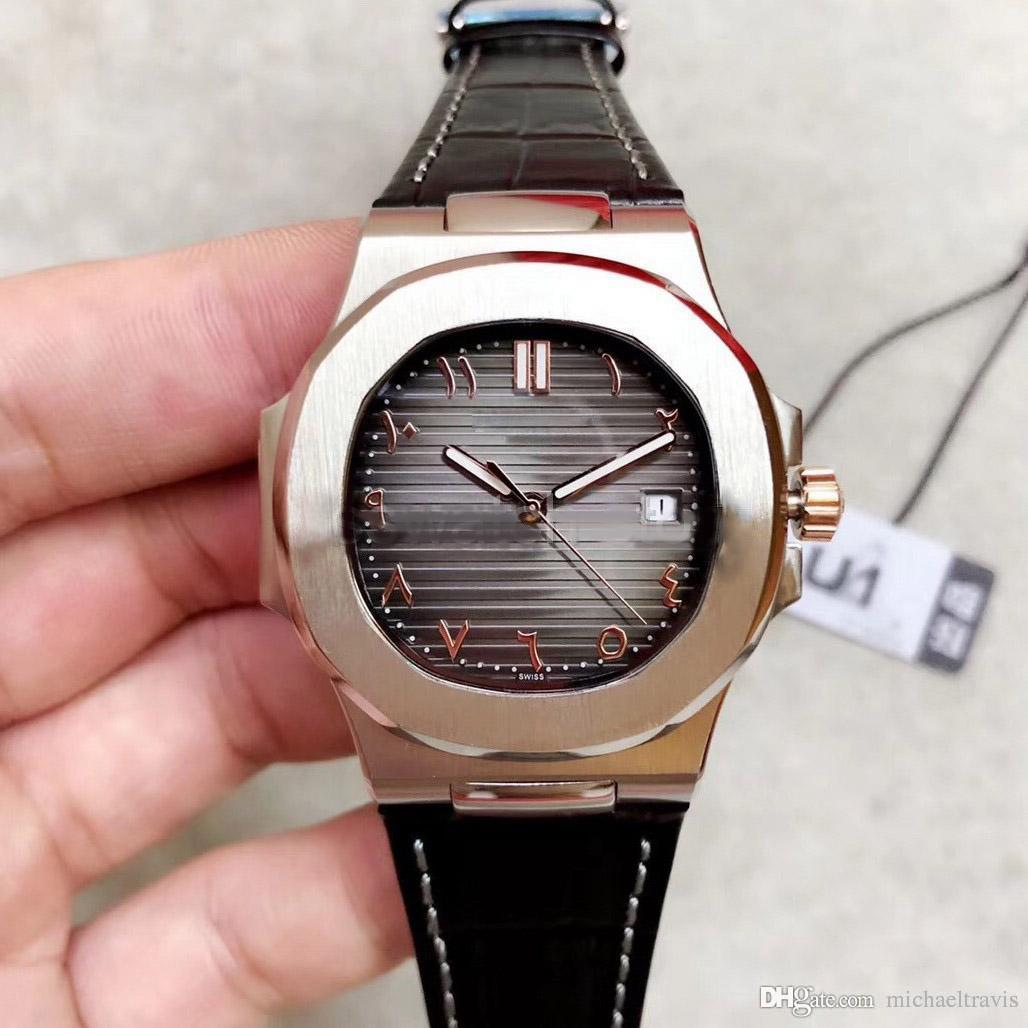 montre automatique numérique islamique 40MM de haute qualité 5711 montre 316L verre saphir bracelet en cuir en acier inoxydable vente à chaud 111