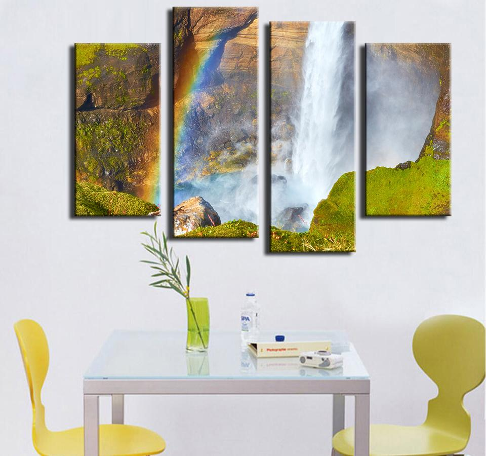 Canvas Painting 4pcs Wall Paintings Home Decorative Modern Haifoss Canyon Watefall Situated Combination for Creative Idea Decor