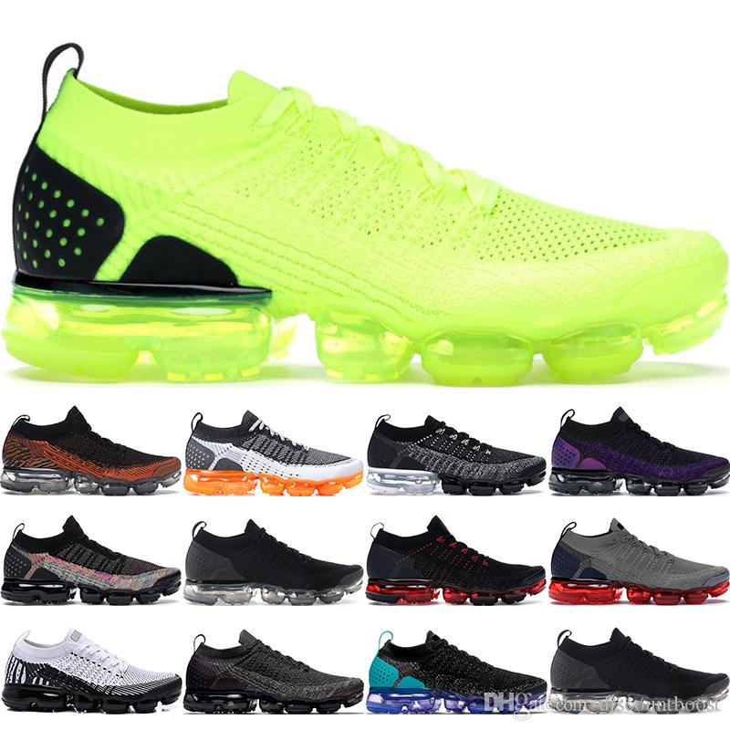 Nuevos zapatos de diseñador Rainbow Soft cushion 2018 Air VaporMax Flyknit BE TRUE Women Soft Running Shoes For Real Quality Fashion Men shoes Sports Sneakers 36-45