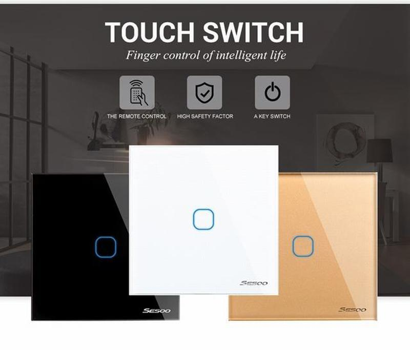 Eu /Uk Standard Sesoo Touch Switch 1 Gang 1 Way ,Wall Light Touch Screen Switch ,Crystal Glass Switch Panel Zj0034