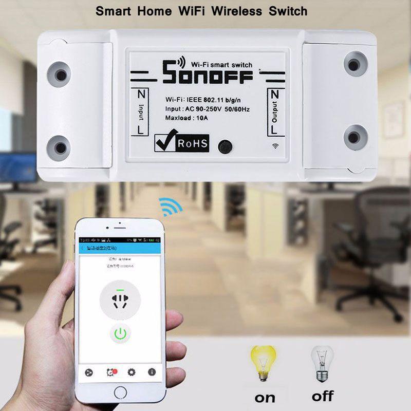 Commutateur Wifi de base Sonoff DIY Télécommande sans fil Domotica Light Domotique intelligente Relais Contrôleur Module Travailler avec Alexa