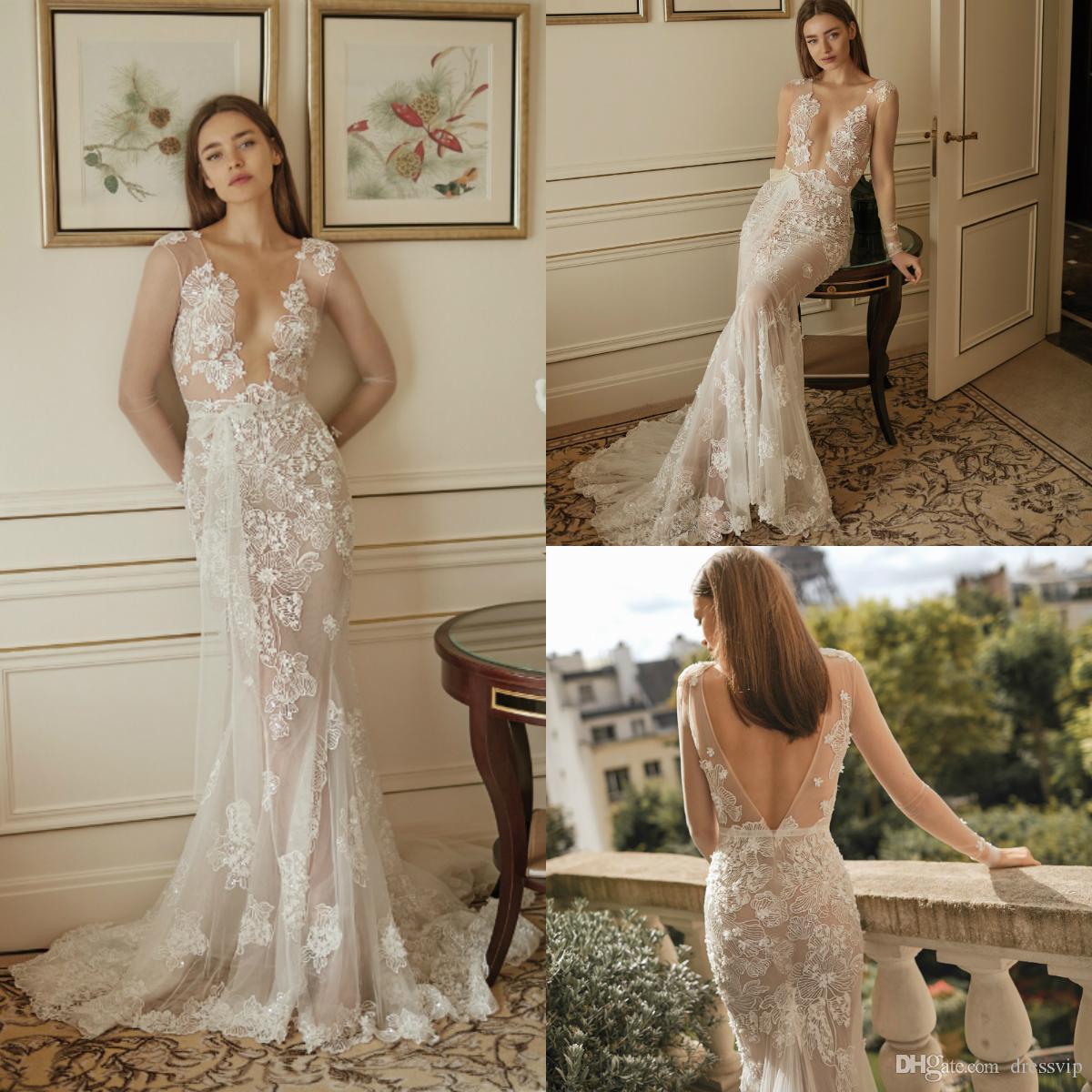 Illusion de mariée sirène Robes Boho balayage train col en V dentelle Applique Robe de mariée 2020 à manches longues Robes de mariée