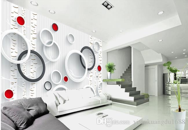 3D 팬텀 서클 자작 나무 흑백 현대 간단한 TV 배경 벽