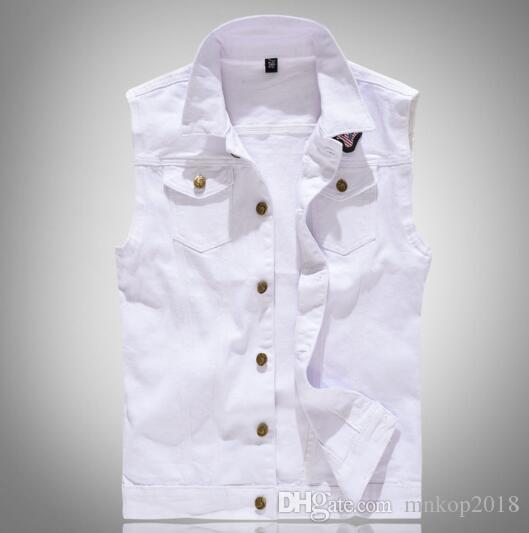 Hole Denim Waistcoat Men White Jeans Vest Solid Rock Vests For Men Fashions Summer Sleeveless Jacket 4xl Punk Biker Ripped