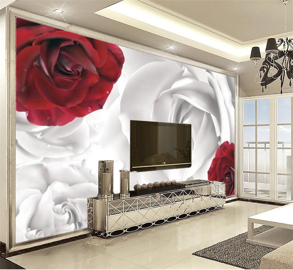 Decorazioni Camera Da Letto acquista carta da parati personalizzata pareti decorazione domestica rosso  bianco rosone decorazione camera da letto soggiorno carta da parati a prova