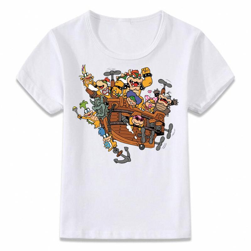 Unisex Funny Kids Clothes Boy's T Shirt Bowser From Mario T-shirt Boys and Girls Toddler Short Sleeve Tee