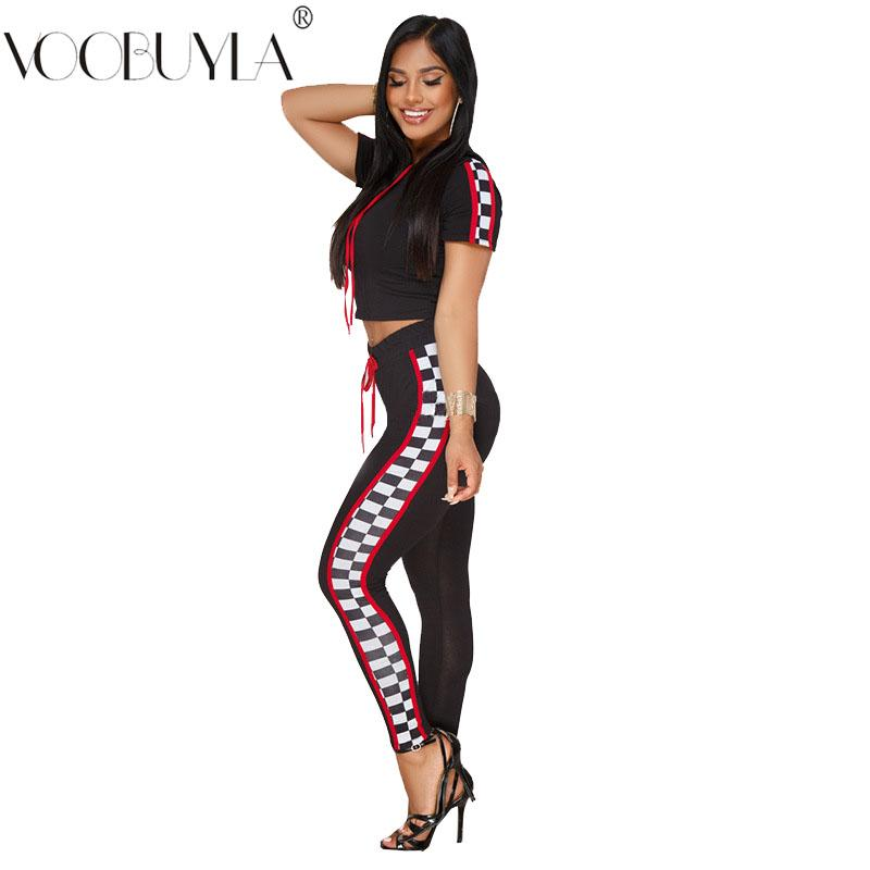 wholesale Women Sexy Tracksuit Two Set 2019 New Spring Long Sleeve Crop Top + Casual Pants Two Piece Set Female Summer Suit Set