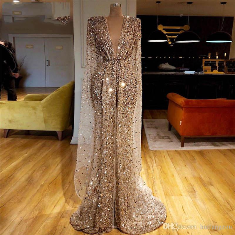 Newest Arabic Evening Dresses Sequins Front Split V Neck Long Mermaid Prom Dresses With Wrap Vintage Formal Party Second Reception Gowns