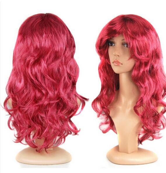 ENVÍO GRATIS + + + Vino largo y rizado Peluca roja Disfraz Disfraz Fiesta de pelo divertido Cosplay resistente al calor