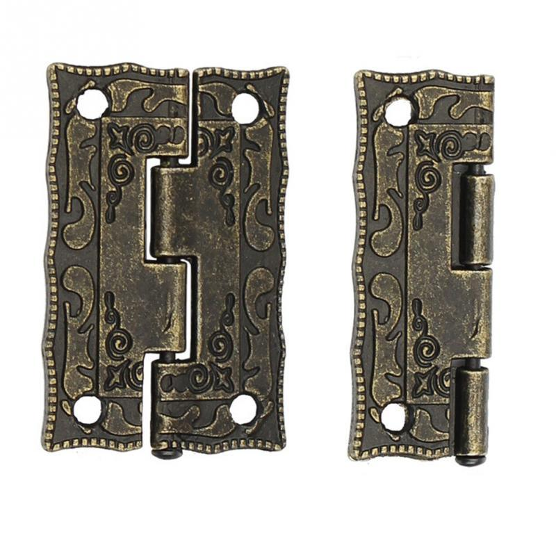 10 Pcs Antigo Dobradiças De Bronze Porta Do Armário Gaveta Decoração Mini Dobradiça conectar Ferramenta Para Armazenamento De Jóias Hardware De Madeira Caixa de Móveis