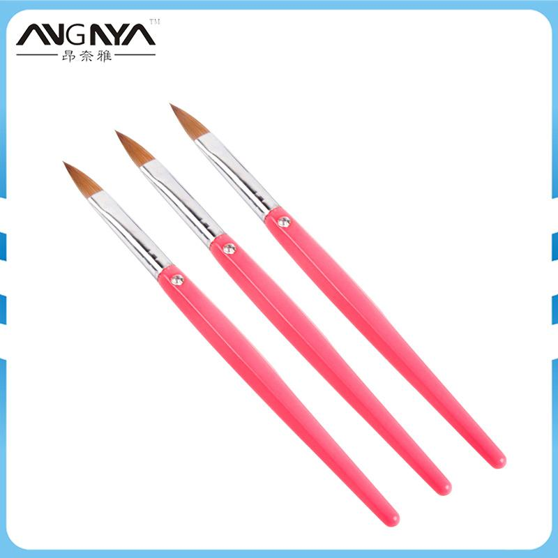 Venta al por mayor 1 Unids Kolinsky Sable Nail Art Brush Size 10 # Rose Red Acrylic Hand Brushes Liquid Powder DIY Nail Drawing Flower Manicure