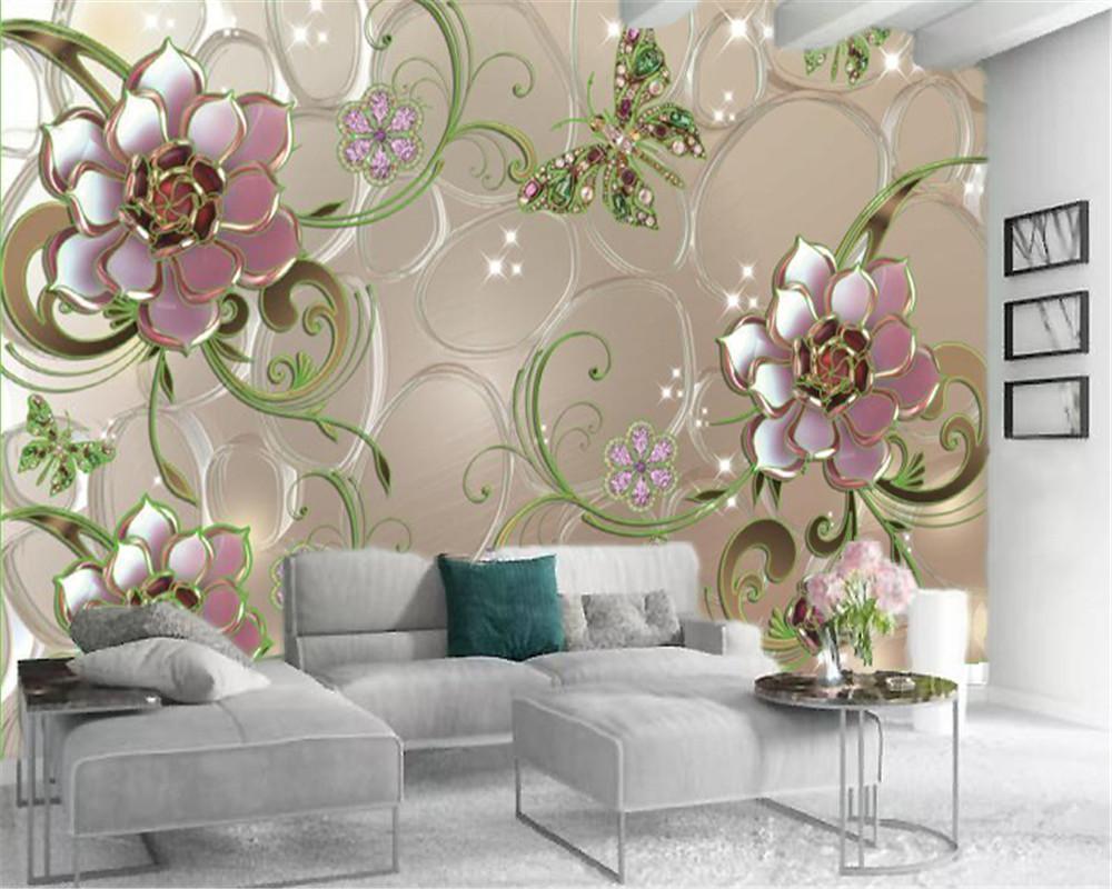 3D-Papier-Wand-Grün Schmuck Diamanten Schmetterlinge und Blumen HD-Superior-Inneneinrichtung 3D Blumen-Tapete