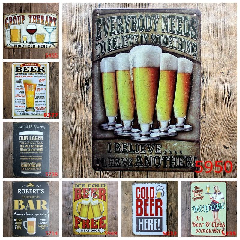 Ice Cold bière gratuite ici Peinture Affiche d'art antique Métal Signes Tin Bar Pub Club Home Retro Stickers muraux décoratifs YN010